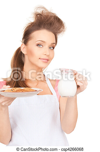 housewife with milk and cookies - csp4266068