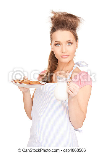 housewife with milk and cookies - csp4068566