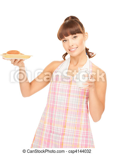 housewife with milk and cookies - csp4144032