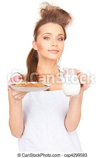 housewife with milk and cookies - csp4299593