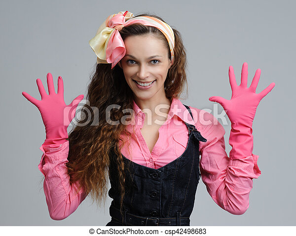 Housewife Woman Portrait Sexy Girl Smiling Csp42498683