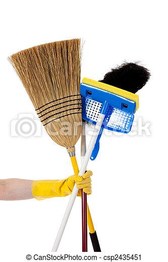 Housework - Broom, mop, duster - csp2435451