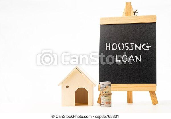 Housing Loan wordings on a chalkboard - csp85765301