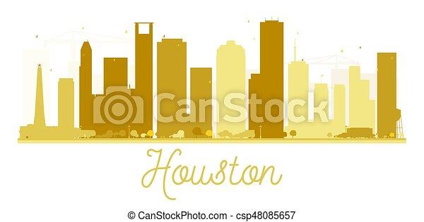 houston γραμμή ορίζοντα , χρυσαφένιος , πόλη , silhouette. - csp48085657
