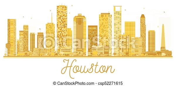 houston , η π α , πόλη , χρυσαφένιος , silhouette., γραμμή ορίζοντα  - csp52271615