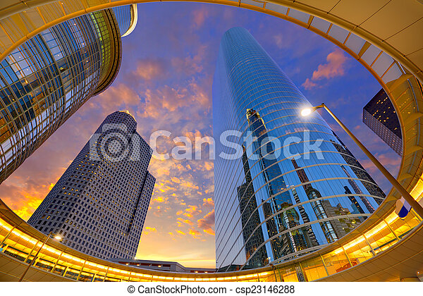 Houston Downtown sunset skyscrapers Texas - csp23146288