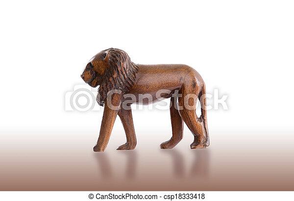 hout, leeuw, speelbal, vrijstaand - csp18333418