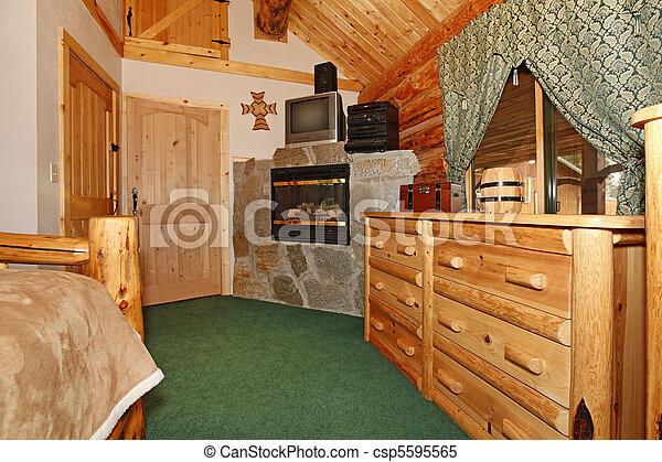 Slaapkamer Met Openhaard : Hout openhaard deuren slaapkamer. tv licht color. rustiek