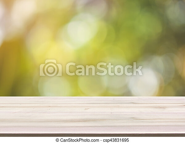 hout, product, bovenzijde, montage., vaag, bokeh, achtergrond, groen tafel, display, lege - csp43831695