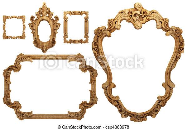 houten, antieke , frame - csp4363978
