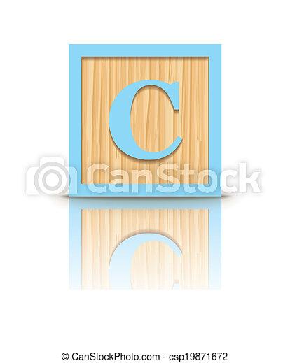 houten, c, vector, brief, blok - csp19871672