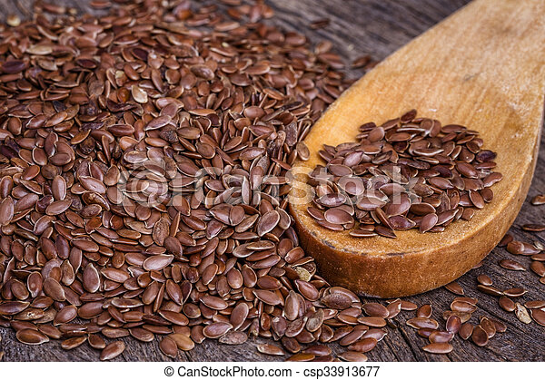 houten, close-up., spoon., graankorrel, vlas - csp33913677