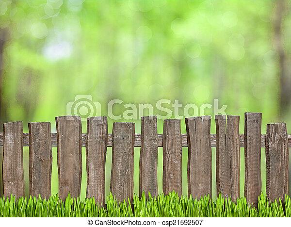 houten, groene achtergrond, omheining - csp21592507