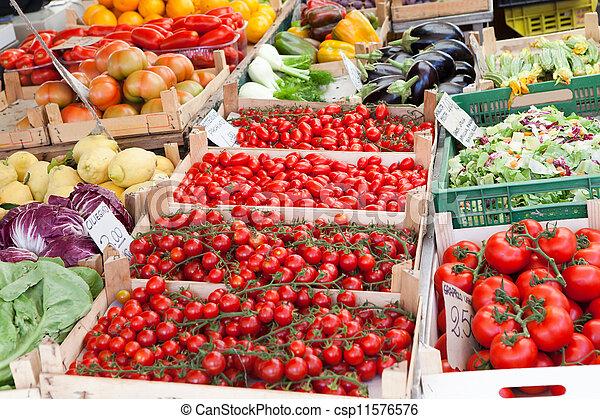 houten, groentes, rauwe, dozen, straat, fris, open, markt - csp11576576