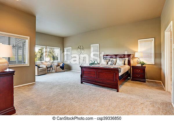 Houten, kers, muren, beige, slaapkamer, interieur, meubel. Usa ...