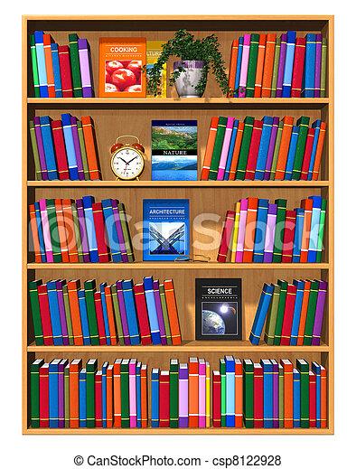 houten, kleur, boekenkast, boekjes  - csp8122928