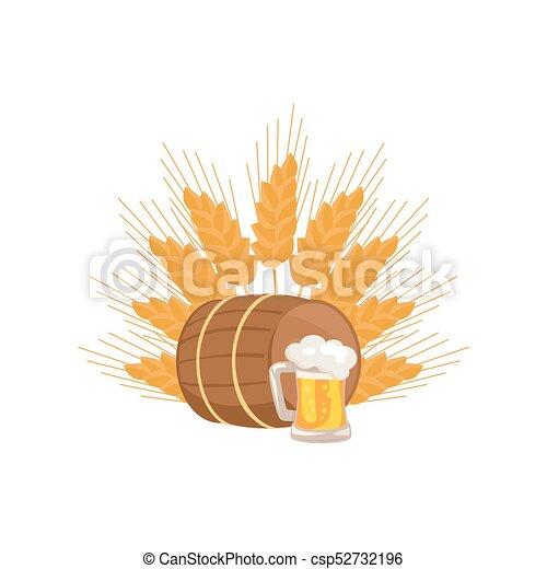 houten, mok, bier, vector, vat, drank - csp52732196
