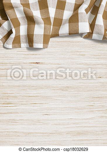 houten, op, ineengevouwen , gebleekte, tafel, tafelkleed - csp18032629