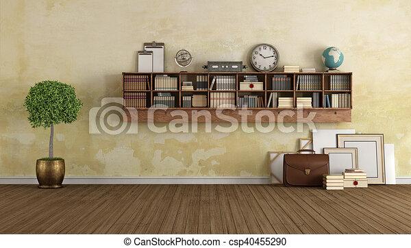 Houten, ouderwetse , boekenkast, levend. Levend, decor, kamer ...