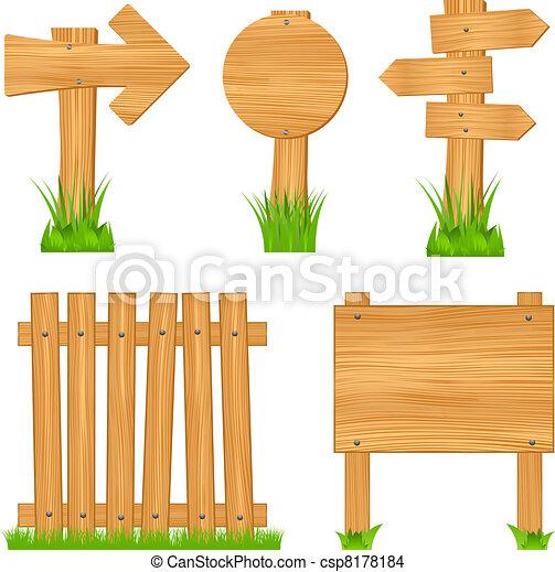houten, richtingwijzer, tekens & borden, raad, omheining - csp8178184