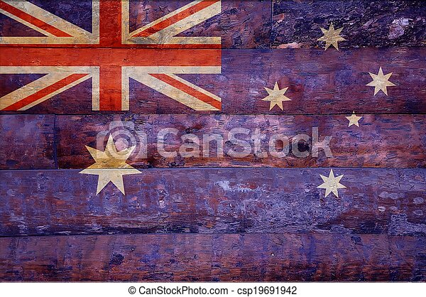 houten, vlag, australia. - csp19691942
