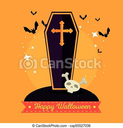 Halloween Kruis.Houten Vrolijke Halloween Kruis Doodskistje