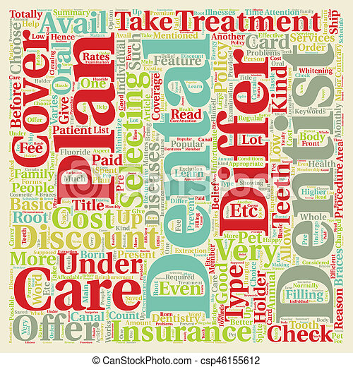 How Dental Plans Differ from Dental Insurance text background wordcloud concept - csp46155612