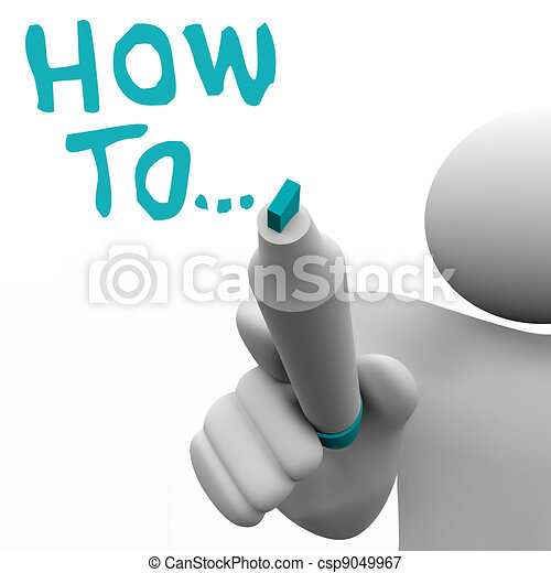 How To Advice Consultant Writes Words Instructions - csp9049967