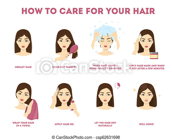 How To Care For Your Hair Instruction Hair Treatment Procedure Dry With Towel Use Oil And Mask For Health Isolated Vector