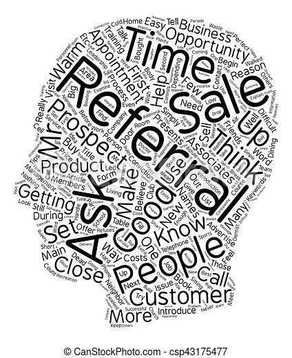 How to get referrals in the sales process text background wordcloud concept - csp43175477