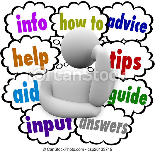 how to information help aid advice thinker thought clouds a rh canstockphoto com thinker clip art free thinker man clipart