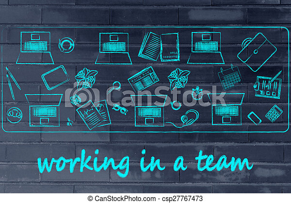 how to successfully work in a team: shared desk with laptops and business objects - csp27767473