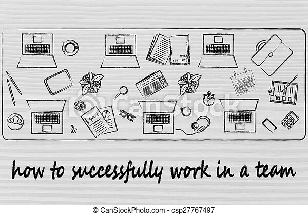 how to successfully work in a team: shared desk with laptops and business objects - csp27767497