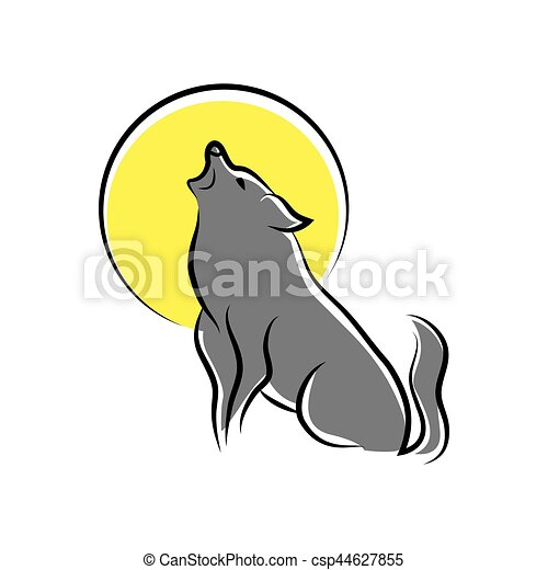 howling wolf symbol - csp44627855
