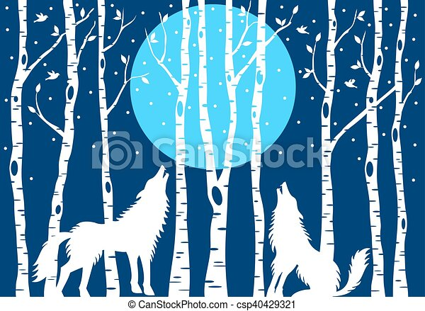 Howling wolf with birch trees, vector - csp40429321