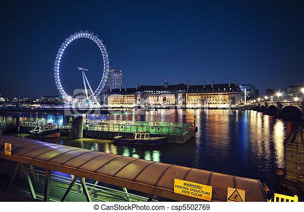 hrabstwo, tamiza, czas, wliczając w to, hala, westminster, milenium, południe, noc, londyn, molo, oko, bank, prospekt - csp5502769