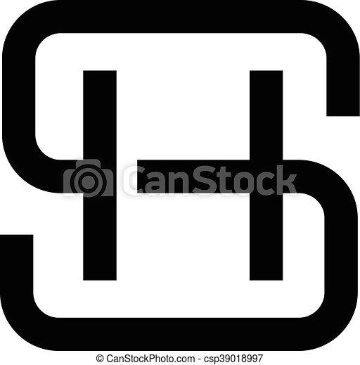 hs sh ロゴ 手紙 ロゴ 平ら 色 hs 現代 ロゴ 黒 手紙 s