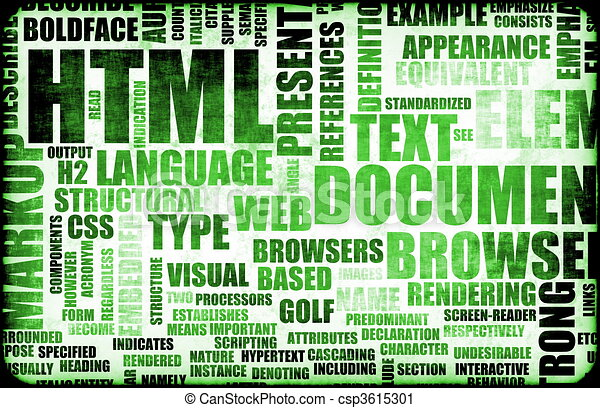 Line Drawing In Html : Green html script code as a background clipart search illustration
