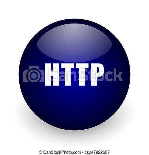 Http blue glossy ball web icon on white background. Round 3d render button. - csp47922687
