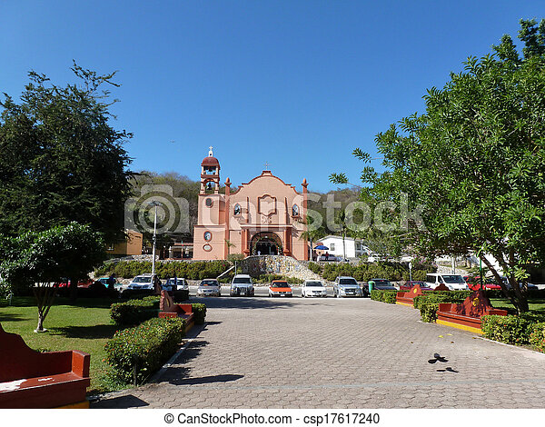 Huatulco Square and church - csp17617240