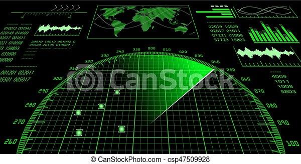 hud., écran, radar, interface utilisateur, futuriste - csp47509928