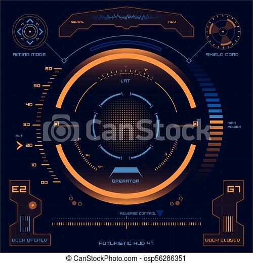 hud, écran, toucher, interface utilisateur, futuriste - csp56286351