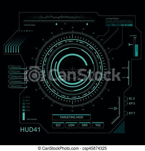 hud, écran, toucher, interface utilisateur, futuriste - csp45874325