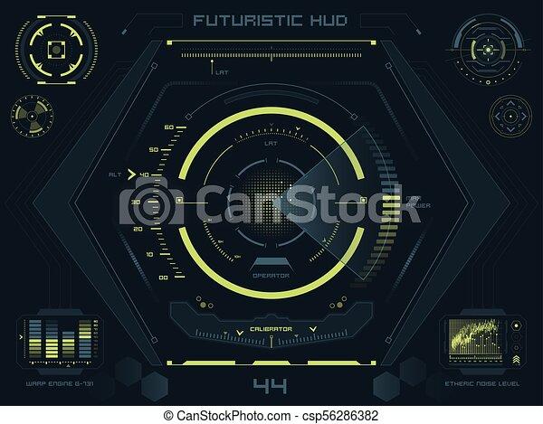 hud, écran, toucher, interface utilisateur, futuriste - csp56286382
