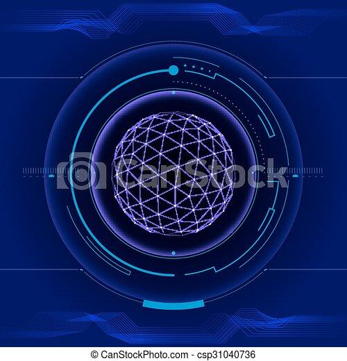hud, écran, toucher, interface utilisateur, futuriste - csp31040736