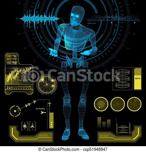 hud, éléments, pose, robot, humanoïde, interrogation - csp51948847