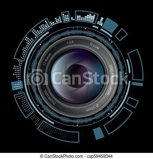 hud, appareil-photo photo, lentille, interface. - csp59459344