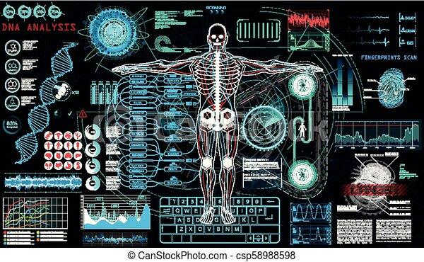 hud, balayage, concept, human-robot, cyborg, ui. - csp58988598