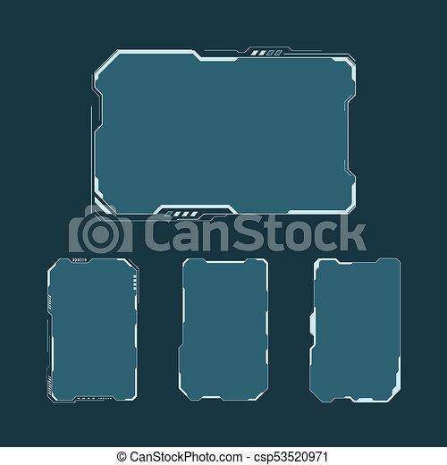 hud, contrôle, éléments, disposition, set., écran, panneau, futuriste, illustration, exposer, vecteur, technologie, virtuel, interface, fi, design., résumé, sci, utilisateur - csp53520971
