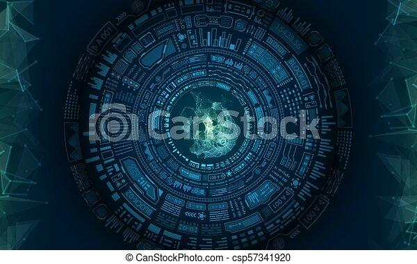 Diseño de elementos del HUD futurista, fondo tecnológico - csp57341920